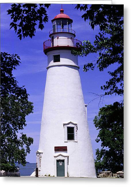 Greeting Card featuring the photograph Marblehead Light by Terri Harper