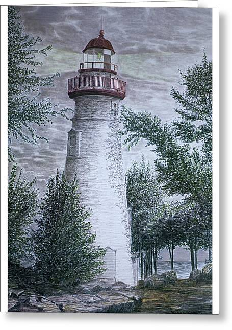 Marblehead Lighthouse Greeting Card by Frank Evans