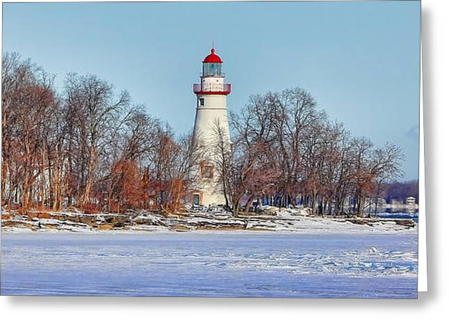 Marblehead Lighthouse In Winter Greeting Card