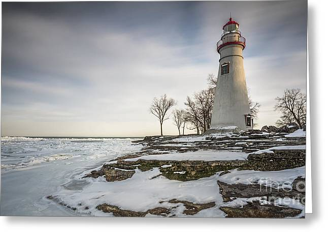 Marblehead Lighthouse Winter Greeting Card by James Dean