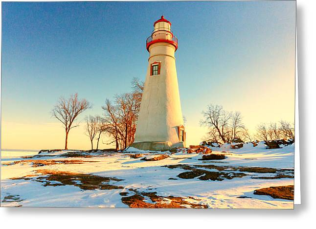Marblehead Ohio Lighthouse Sun And Snow Greeting Card