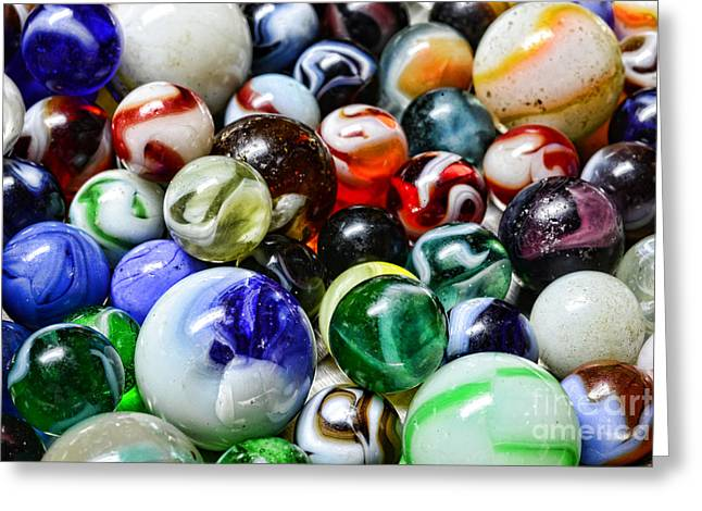 Marbles All That Color Greeting Card by Paul Ward