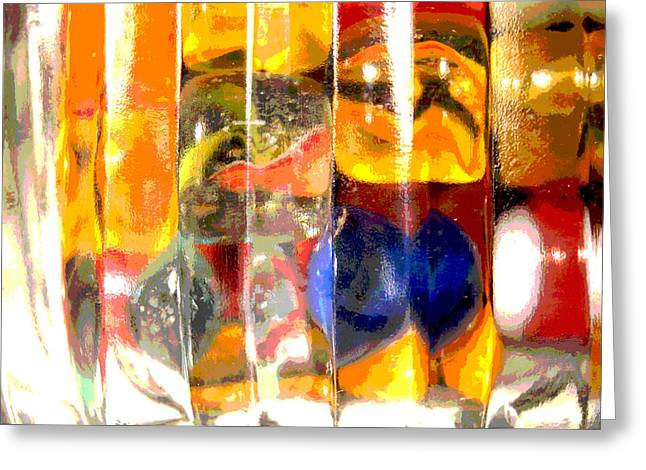 Greeting Card featuring the photograph Marbles In A Glass Bowl by Mary Bedy