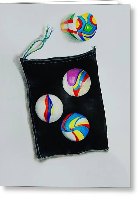 Marbles Greeting Card by Jean Cormier
