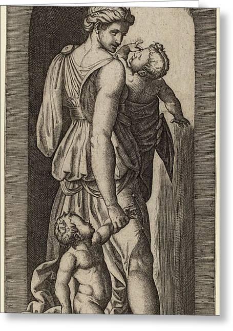 Marcantonio Raimondi After Raphael Italian Greeting Card by Quint Lox