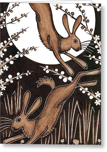 March Hares, 2013 Woodcut Greeting Card by Nat Morley