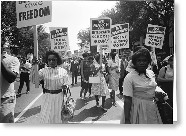 March On Washington Greeting Card by Warren K Leffler
