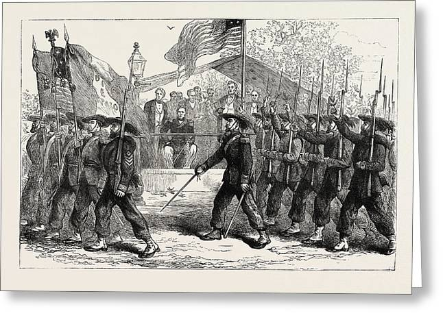 March Past Of The Garibaldi Guard Before President Lincoln Greeting Card by American School