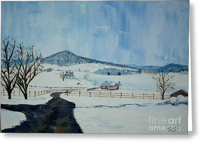 March Snow On Mole Hill - Sold Greeting Card by Judith Espinoza