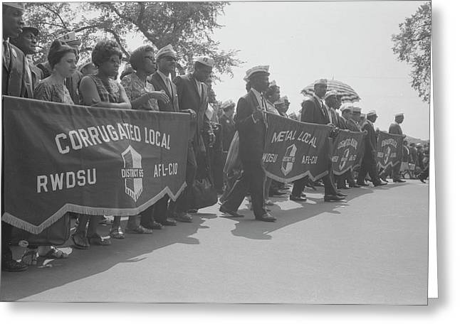 Marchers Carrying Labor Union Banners Greeting Card by Stocktrek Images