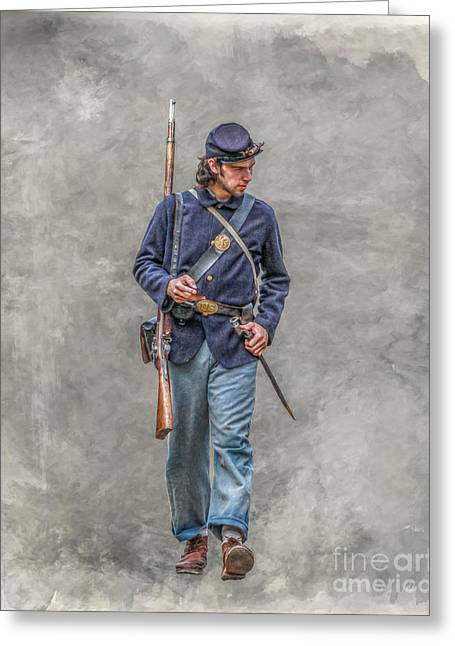 Marching Union Soldier Ver Three Greeting Card