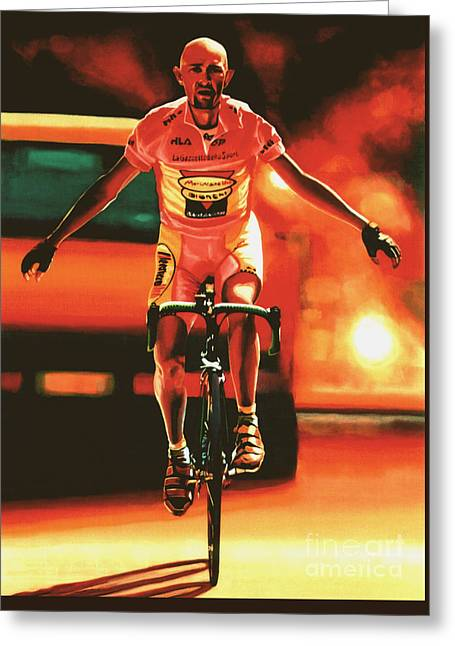 Marco Pantani Greeting Card by Paul Meijering