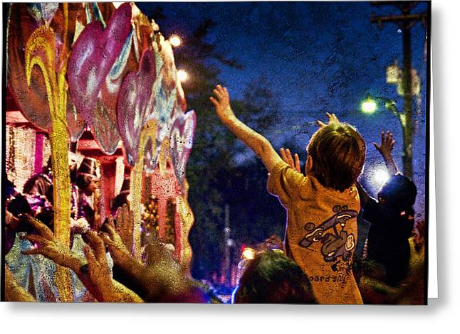 Mardi Gras At Night Greeting Card by Ray Devlin