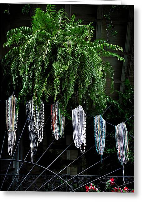 Mardi Gras Beads New Orleans Greeting Card by Christine Till