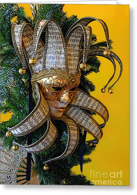 Mardi Gras Christmas In Gold Greeting Card by Norman Gabitzsch
