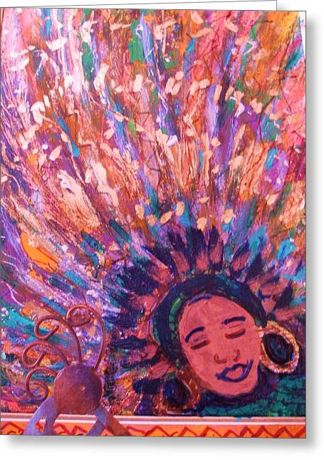 Mardi Gras Girl Revisited Greeting Card by Anne-Elizabeth Whiteway
