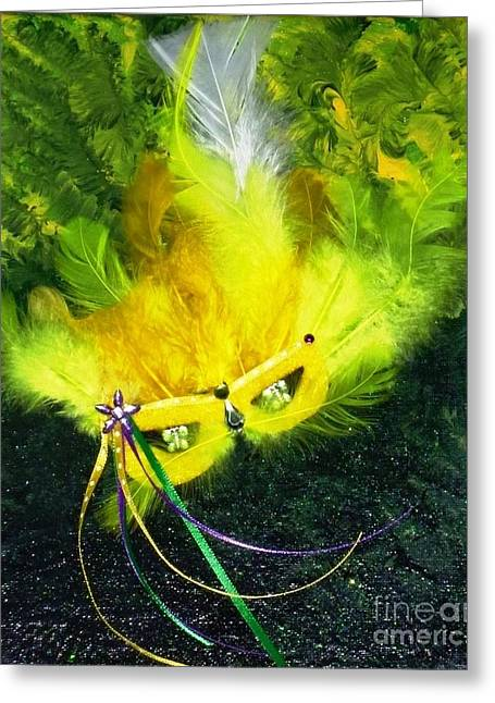 Greeting Card featuring the painting Mardi Gras On Green by Alys Caviness-Gober