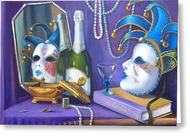 Mardi Gras Greeting Card by Rich Kuhn