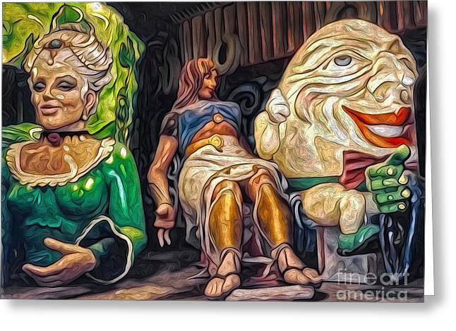 Mardi Gras World - Humpty Dumpty And Showgirls Greeting Card by Gregory Dyer