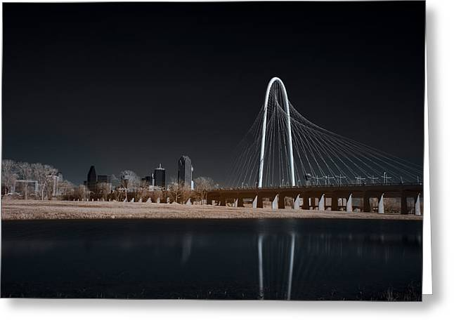 Margaret Hunt Hill Bridge And Dallas Skyline In Infrared Greeting Card
