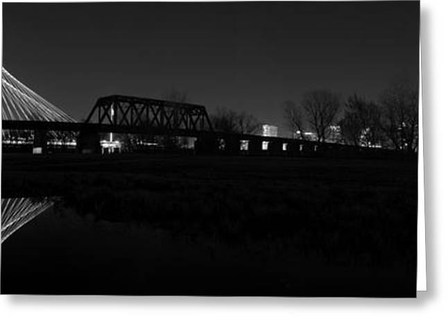 Margaret Hunt Hill Bridge Dallas Skyline Black And White Greeting Card by Jonathan Davison
