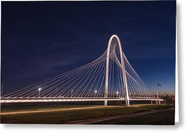 Margaret Hunt Hill Bridge In Dallas At Night Greeting Card