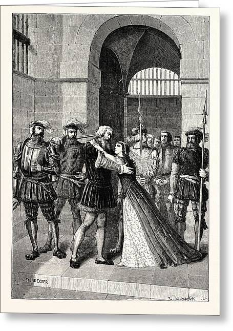 Margaret Roper Meets Her Father After His Condemnation Greeting Card by English School