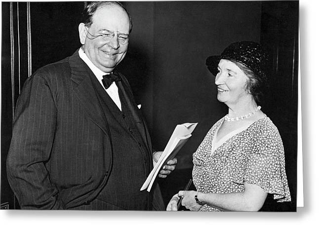 Margaret Sanger With Senator Greeting Card by Underwood Archives