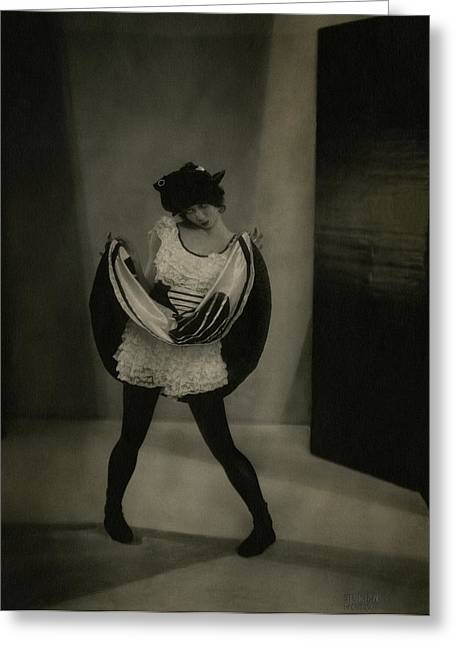 Margaret Severn Pulling Up Her Skirt Greeting Card by Edward Steichen