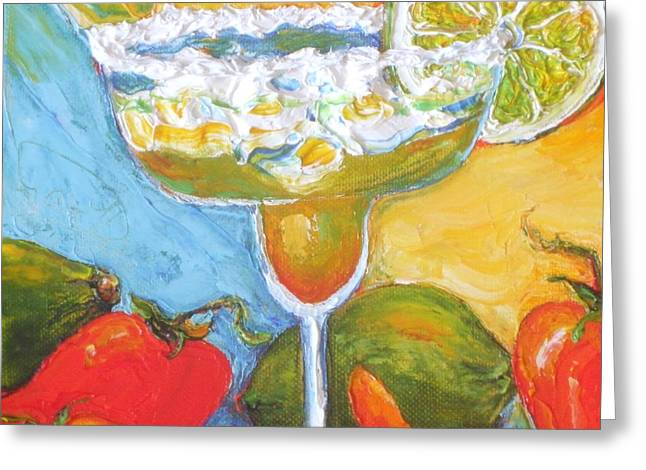 Margarita And Chile Peppers Greeting Card by Paris Wyatt Llanso
