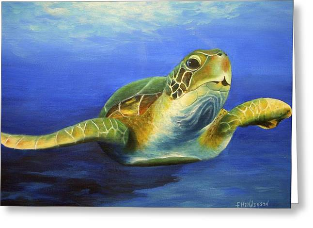 Margie The Sea Turtle Greeting Card by Francine Henderson