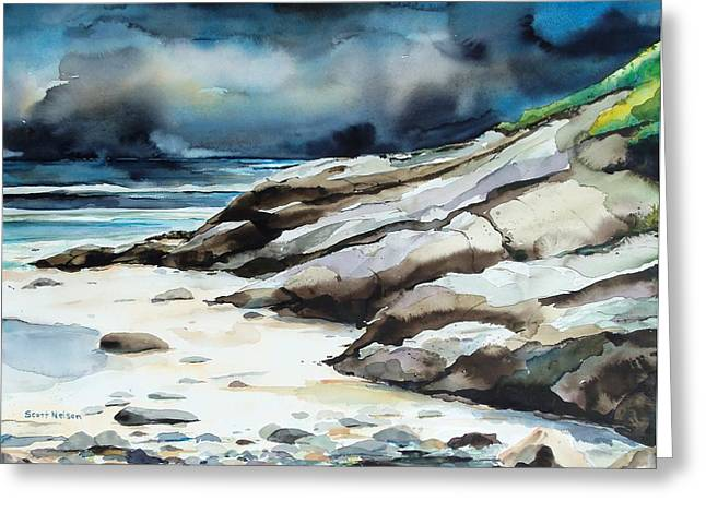 Marginal Way Storm Greeting Card by Scott Nelson