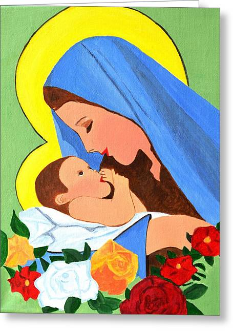 Greeting Card featuring the painting Maria And Baby Jesus by Magdalena Frohnsdorff