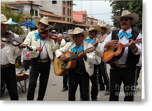Mariachis At The Fiesta De San Jose Greeting Card by Linda Queally