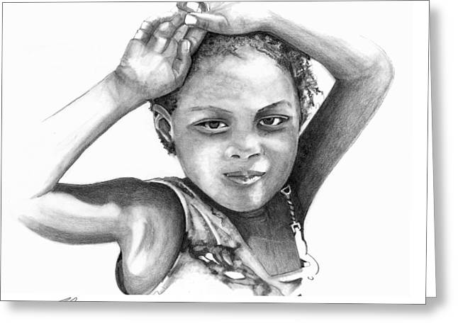 Greeting Card featuring the drawing Mariane by Bob Salo