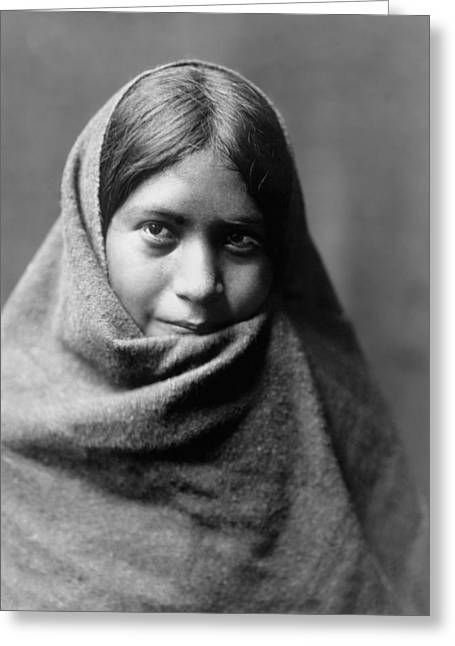 Maricopa Indian Woman Circa 1907 Greeting Card by Aged Pixel