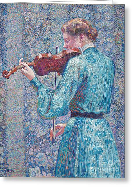 Marie Anne Weber Playing The Violin  Greeting Card by Theo van Rysselberghe