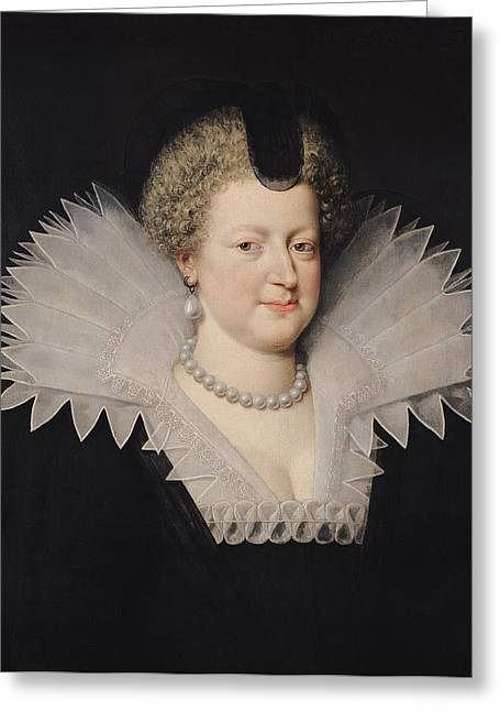 Marie De Medici 1573-1642 Oil On Canvas Greeting Card by Frans II Pourbus