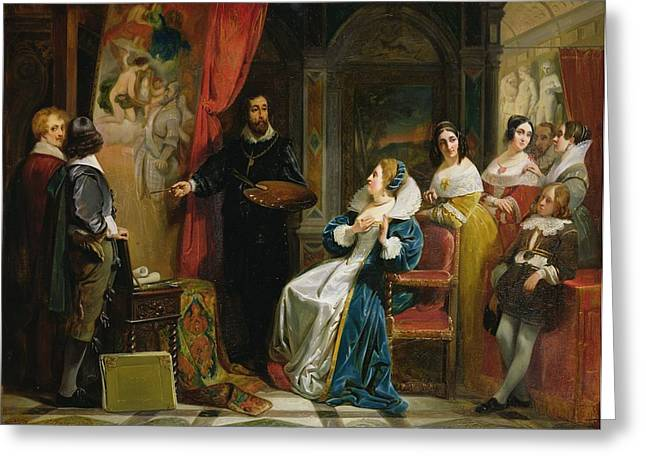 Marie De Medici 1573-1642 Visiting The Studio Of Rubens, 1839 Oil On Canvas Greeting Card