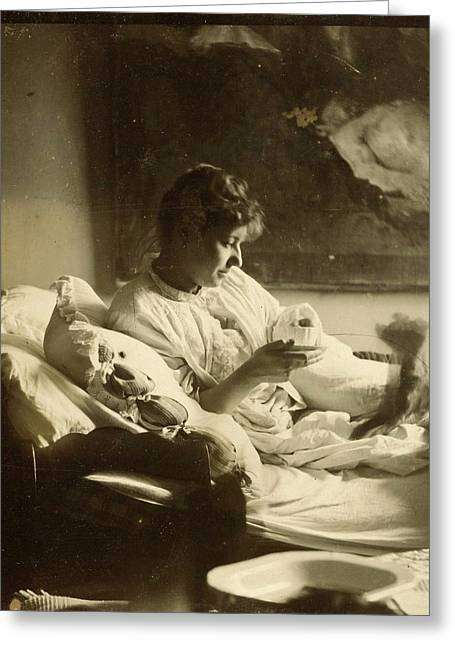 Marie Jordan Dressed Sitting In Bed With A Cup In Her Hands Greeting Card