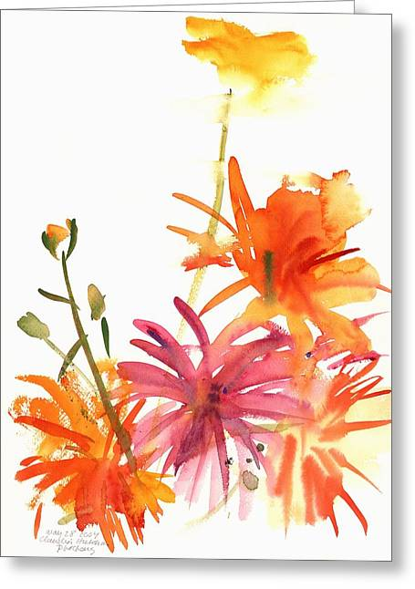 Marigolds And Other Flowers Greeting Card by Claudia Hutchins-Puechavy