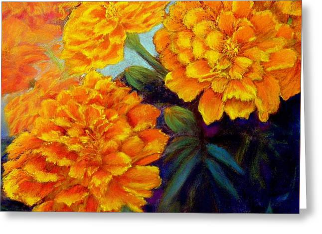 Greeting Card featuring the pastel Marigolds In Bloom Pastel  Sold by Antonia Citrino