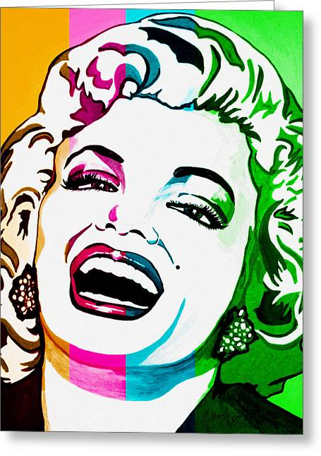 Marilyn Color Blocked Greeting Card by Colleen Kammerer