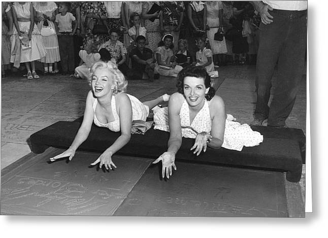 Marilyn Monroe And Jane Russell Greeting Card by Underwood Archives
