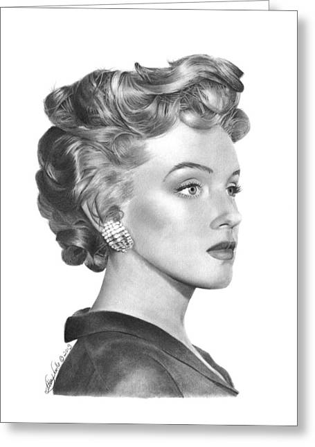 Greeting Card featuring the drawing Marilyn Monroe - 014 by Abbey Noelle