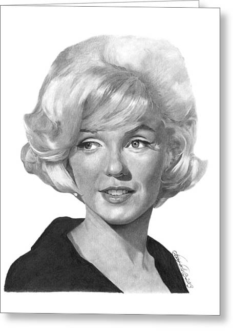 Greeting Card featuring the drawing Marilyn Monroe - 015 by Abbey Noelle