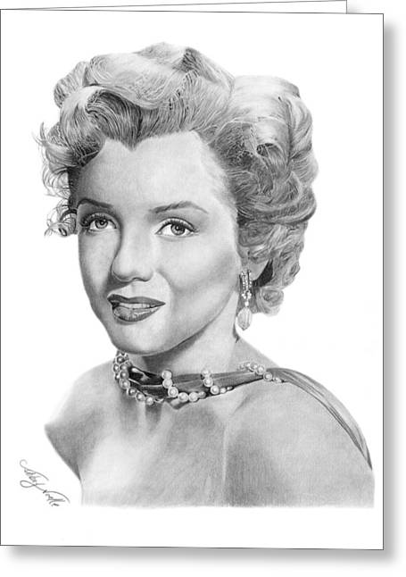 Greeting Card featuring the drawing Marilyn Monroe - 016 by Abbey Noelle