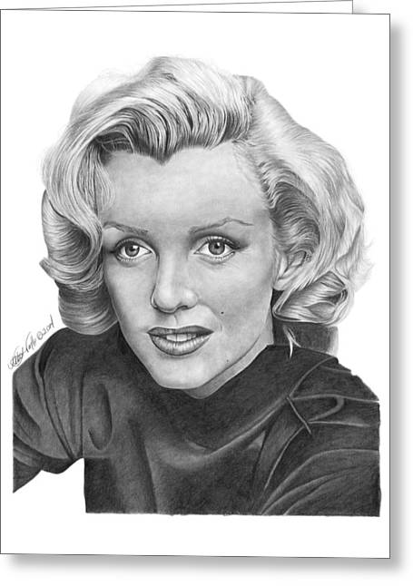 Greeting Card featuring the drawing Marilyn Monroe - 025 by Abbey Noelle