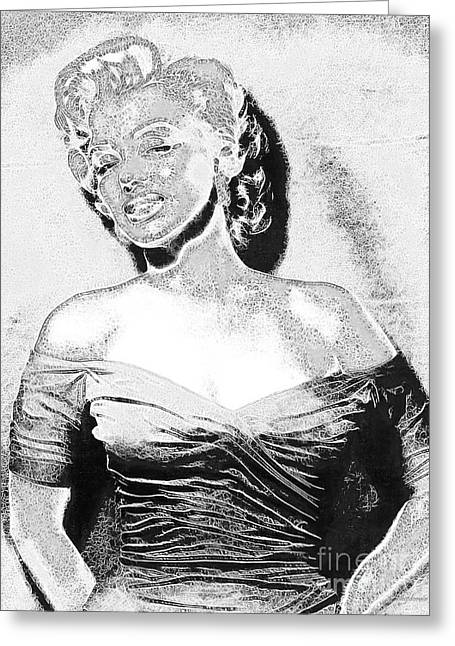 Marilyn Monroe 20130329 Black And White Greeting Card by Wingsdomain Art and Photography