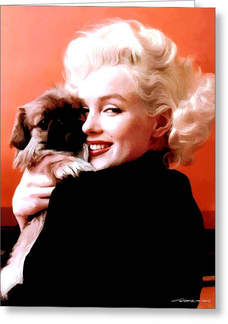 Marilyn Monroe And Pekingese Portrait Greeting Card